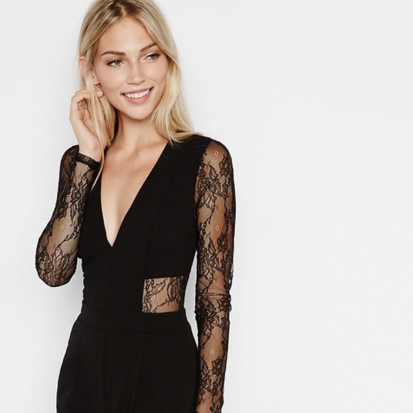 b08ed5b6553b Express Pants - EXPRESS LACE BACK AND SLEEVE JUMPSUIT V Neck SEXY
